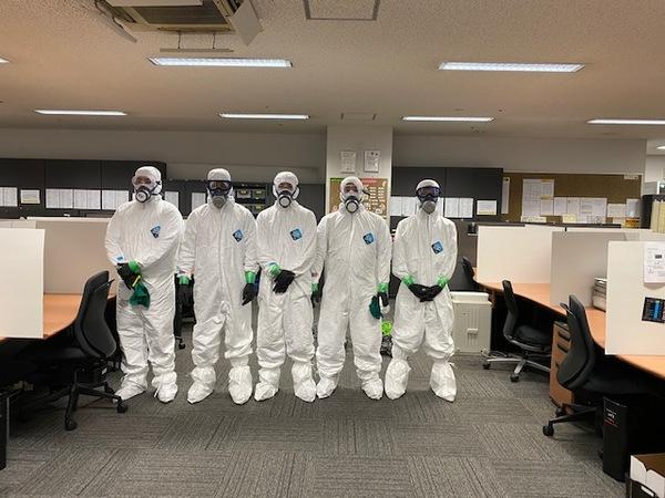 本日はCOVID-19の消毒作業を施工致しました。(延べ床面積5,000㎡)